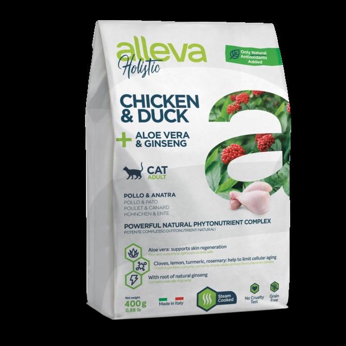 Alleva Holistic - Csirkehúst, kacsahúst, Aloe verát és ginzenget tartalmazó táp - Felnőtt macskáknak - 400g