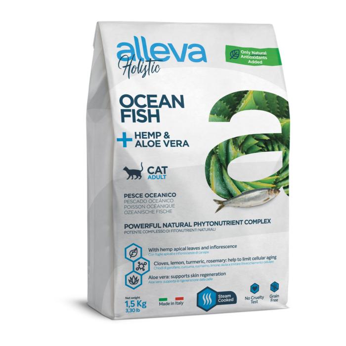 Alleva Holistic - Tengeri halat, kendert és Aloe verát tartalmazó táp - Felnőtt macskáknak - 1,5 kg