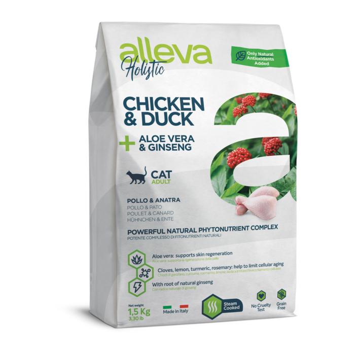 Alleva Holistic - Csirkehúst, kacsahúst, Aloe verát és ginzenget tartalmazó táp - felnőtt macskáknak - 1,5 kg
