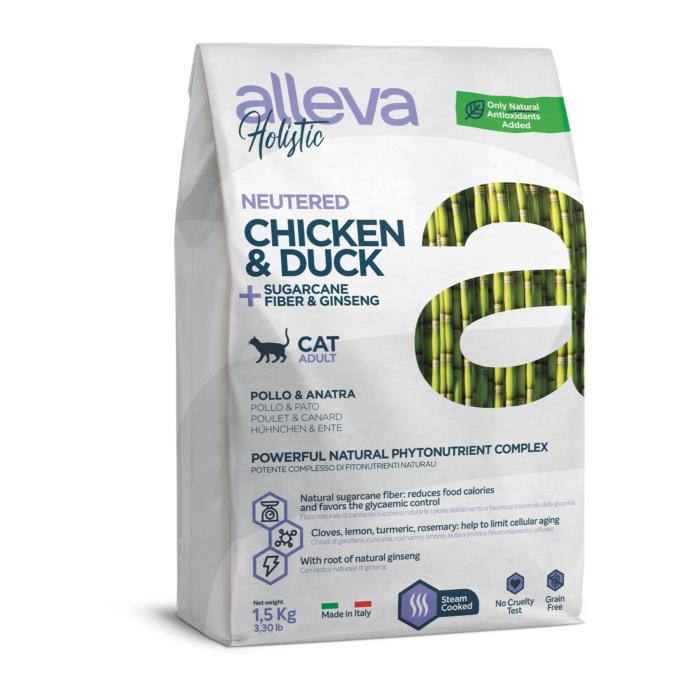 Alleva Holistic - Csirkehúst, kacsahúst, cukornádrostot és ginzenget tartalmazó táp - Ivartalanított felnőtt macskáknak - 1500g