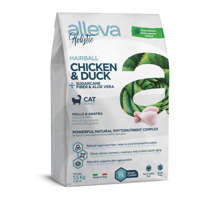 Alleva Holistic - Csirkehúst, kacsahúst, cukornádrostot és Aloe verát tartalmazó táp - Felnőtt macskáknak a szorlabdaképződés megelőzésére - 1500g