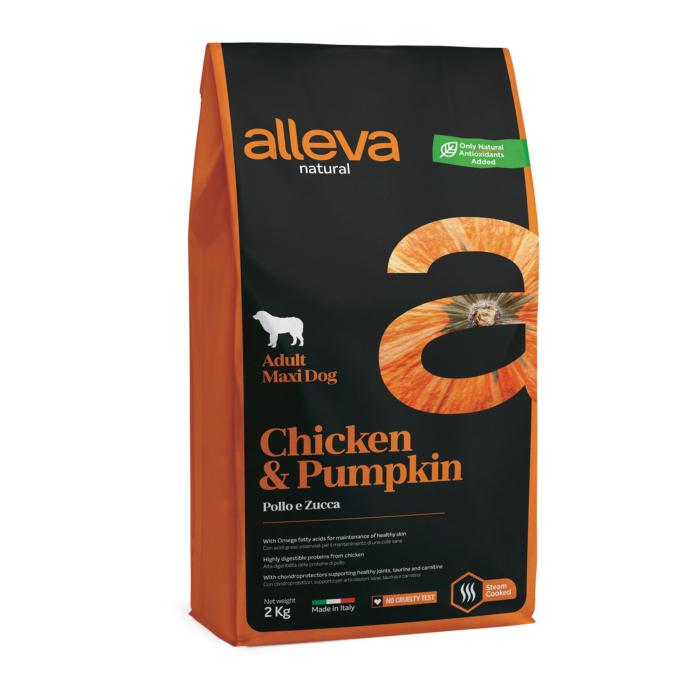 Alleva Natural - Csirkehúst és sütőtököt tartalmazó táp  Nagytestű felnőtt kutyáknak - 2kg