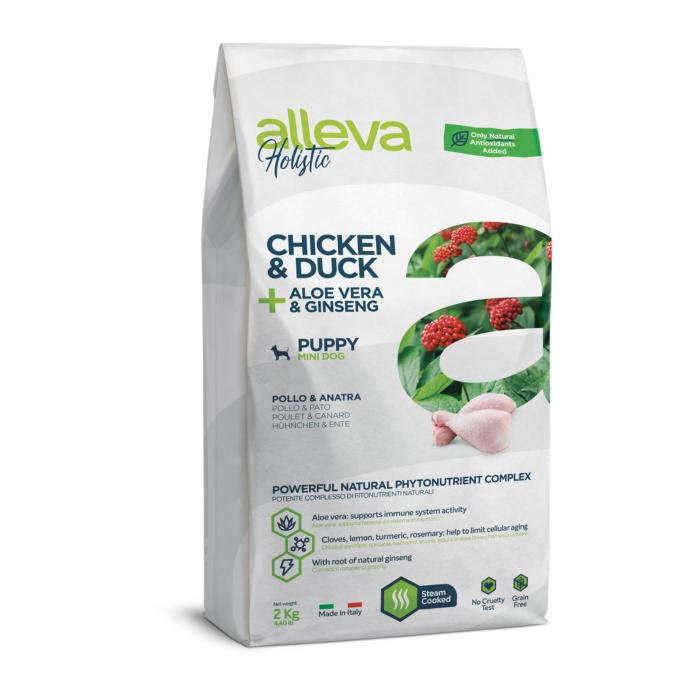 Alleva Holistic - Csirkehúst, kacsahúst, Aloe verát és ginzenget tartalmazó táp - Kistestű kölyökkutyáknak - 2kg