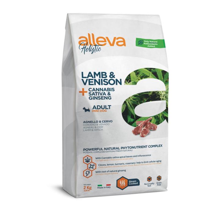 Alleva Holistic - Bárányhúst, vadhúst, kendert és ginzenget tartalmazó táp - Kistestű felnőtt kutyáknak - 2kg