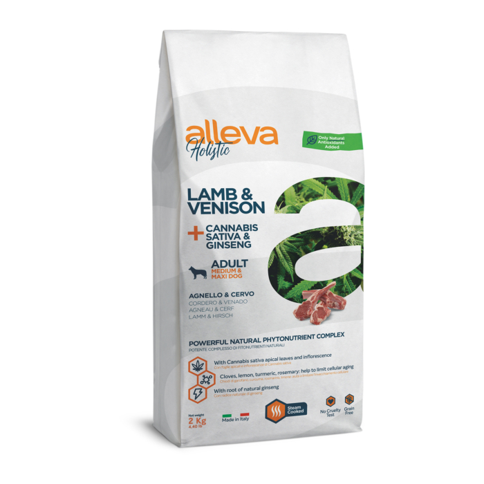 Alleva Holistic - Bárányhúst, vadhúst, kendert és ginzenget tartalmazó táp - Közepes és nagytestű felnőtt kutyáknak - 2kg
