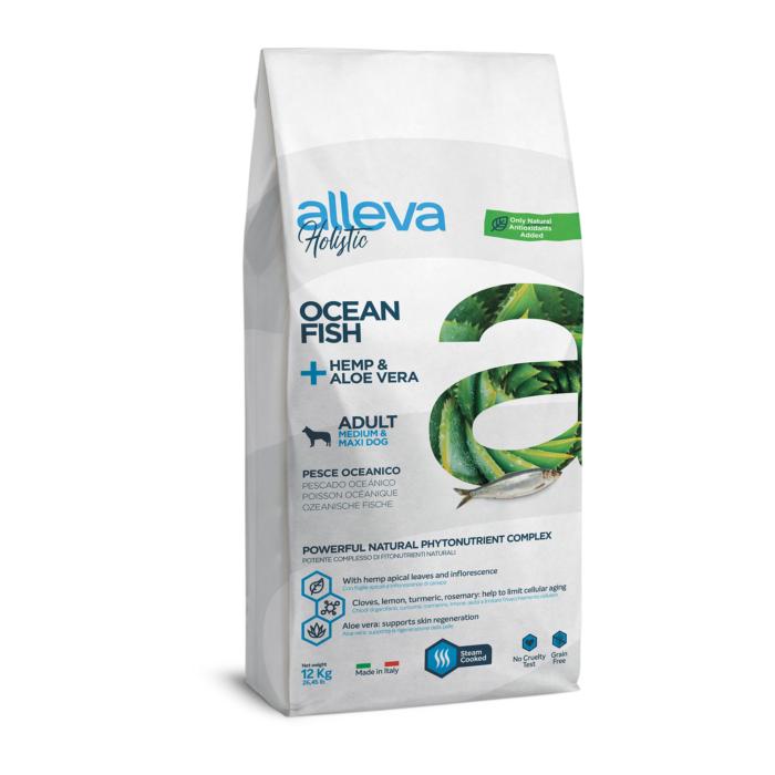 Alleva Holistic - Tengeri halat, kendert és Aloe verát tartalmazó táp - Közepes és nagytestű felnőtt kutyáknak - 12kg