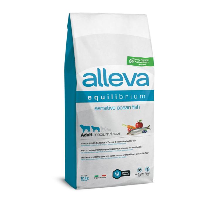Alleva Equilibrium - Tengeri halat tartalmazó táp érzékeny kutyák részére - Közepes és nagytestű felnőtt kutyáknak - 12kg